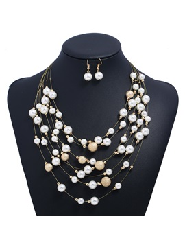 Multi Layer Pearl Inlaid Dull Polish Alloy Two Piece Jewelry Sets