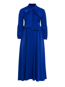 Long Sleeve Bow Collar Women Maxi Dresse