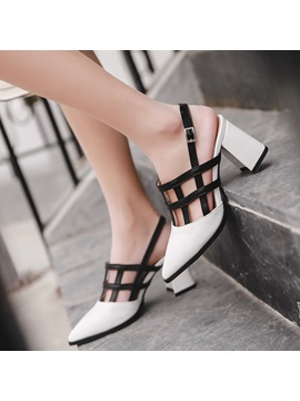 Pu Color Block Chunky Heel Womens Sandals