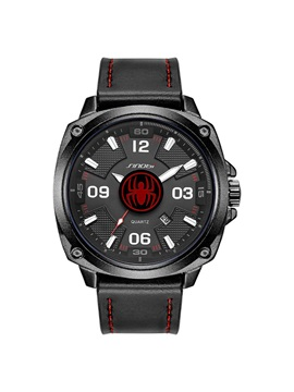 Analog Dial Display Leather Mens Watch With Calendar