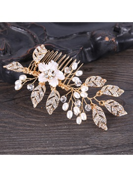 Hot Sale Golden Leaf Shape Wedding Hair Comb