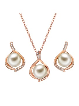 Hollow Out Pearl Inlaid Rose Gold Alloy Two Piece Jewelry Sets