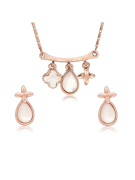 Water Drop Shape Pendant Necklace Earrings Jewelry Sets