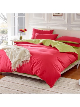 Wannaus Solid Bright Red And Green Color Blocking Cotton 4 Piece Bedding Sets Duvet Cover
