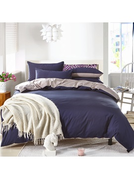 Wannaus Solid Dark Blue And Gray Color Blocking Cotton 4 Piece Bedding Sets Duvet Cover