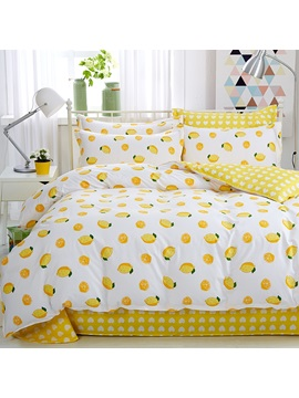 Wannaus Yellow Lemon Fresh Style Cotton 4 Piece Bedding Sets Duvet Cover