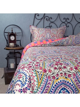 Wannaus Full Size Bohemia Pattern Ethnic Style Cotton 4 Piece Bedding Sets Duvet Cover