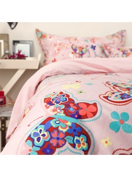 Wannaus Colorful Butterflies Pattern Princess Style Pink Cotton 4 Piece Bedding Sets Duvet Cover