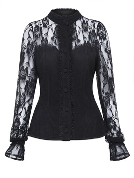 Tidebuy Lace Patchwork Womens Blouse
