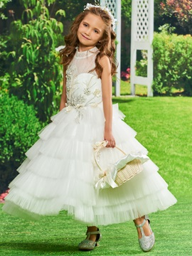 Pearls Flowers Lace Girls Party Dress