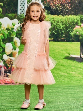 Lace Tiered Tea Length Girls Party Dress