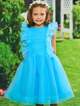 Ruffles Pleats Tea Length Girls Party Dress