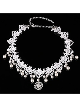 Korean Style Pearl Inlaid Lace Wedding Hair Accessories