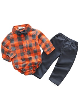 Plaid Bowknot Romper With Pants Baby Boys Outfit