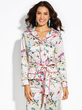 Floral Long Sleeve Notched Lapel Womens Jacket