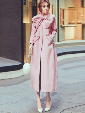 Hidden Button Long Regular Womens Trench Coat