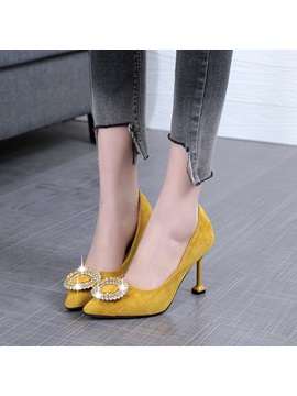Pu Low Cut Upper Rhinestone Spoon Heel Pumps