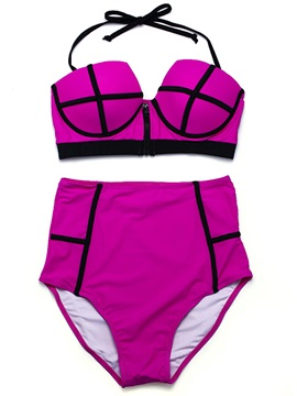 Plaid Print Plus Size Bikini Set