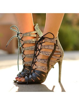 Pu Peep Toe Lace Up Patchwork Stiletto Sandals