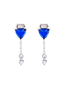 Sapphire Inlaid Imitation Diamond Concise Drop Earrings