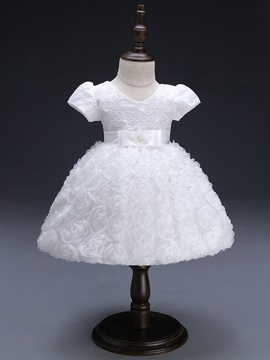 3d Print Floral Embroidery Girls Ball Gown Dress