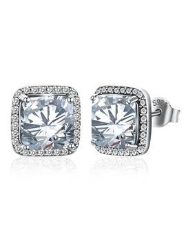 925 Silver Square Shape Imitation Diamond Inlaid Stud Earrings