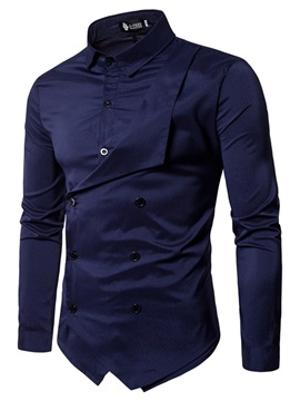 Lapel Plain Asymmetric Mens Stylish Shirt