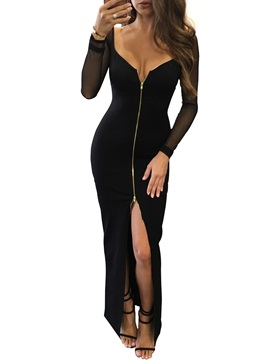Tidebuy Black Front Zipper Sexy Womens Maxi Dress