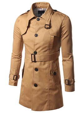 Tidebuy Lapel With Belt Mid Length Mens Trench Coat