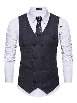 Tidebuy V Neck Double Breasted Vintage Slim Fit Plain Mens Casual Vest