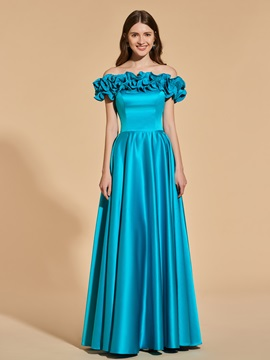 A Line Off The Shoulder Ruffles Prom Dress