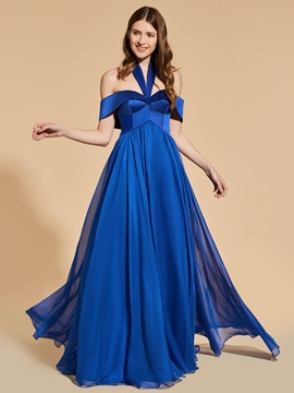A Line Halter Empire Prom Dress