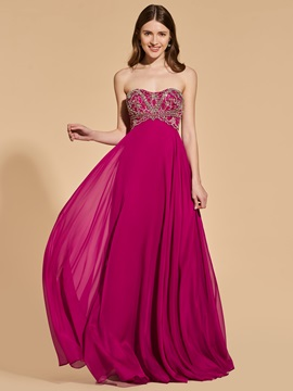 A Line Beading Empire Sweetheart Prom Dress