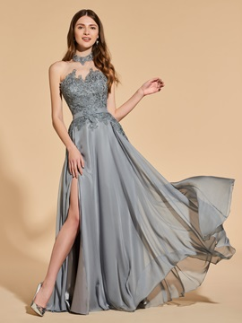A Line Halter Appliques Backless Prom Dress