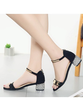 Pu Open Toe Sequin Heel Covering Womens Sandals
