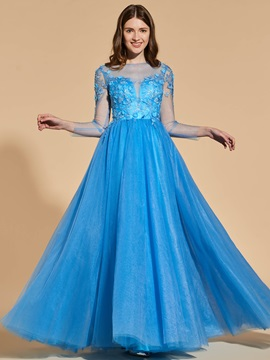 A Line Long Sleeves Button Prom Dress