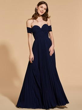A Line Off The Shoulder Pleats Prom Dress