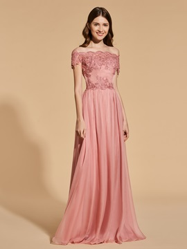 A Line Empire Lace Button Prom Dress