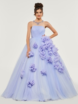 Pleats Scoop Flowers Quinceanera Dress
