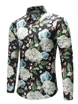 Tidebuy Stylish Floral Print Mens Casual Shirt