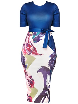 Short Sleeve Round Neck Floral Womens Bodycon Dress