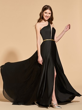 A Line One Shoulder Split Front Sashes Prom Dress