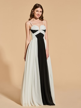 A Line Spaghetti Straps Contrast Color Prom Dress