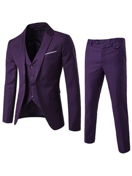 Tidebuy Plain Three Piece Of Casual Slim Mens Suit