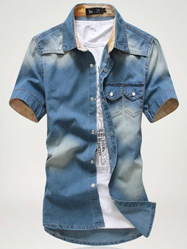 Tidebuy Lapel Short Sleeve Casual Mens Denim Shirt