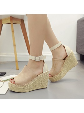 Suede Peep Toe Sewing Wedge Womens Sandals