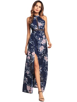 Ankle Length Floral Stand Collar Womens Maxi Dress