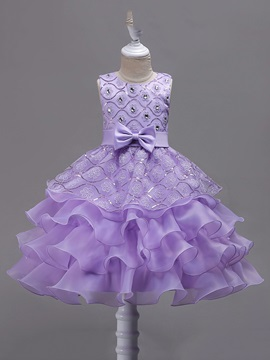 Sequins Bowknot Girls Layered Dress