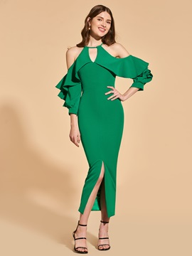 Sheah Long Sleeves Ruffles Cocktail Dress