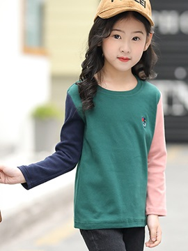 Embroidery Color Block Girls T Shirt